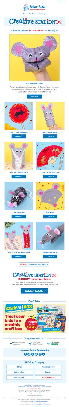 Chinese Newy Year email from Baker Ross with craft ideas Craft Art, Craft Ideas, Year Of The Rat, Craft Shop, Chinese New Year, Email Marketing, Rats, Craft Supplies, Hobbies