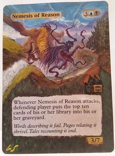 Nemesis of Reason This Is One Of My Altered Cards From This Weeks Batch! To See Them All Go To   http://stores.ebay.com/MtgAlteredMagicCards #MTG #MtgAddicts #MtgAlteredArt #MtgHandPainted #MtgExtendedArt #Magic #MagicTheGathering #MtgAlter #MtgArt #WOTC #FNM #EDH