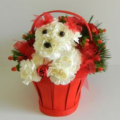 Christmas Flowers by Artistry in Bloom Christmas Flower Arrangements, Unique Flower Arrangements, Christmas Flowers, Christmas Centerpieces, Flower Centerpieces, Deco Floral, Floral Design, Puppy Flowers, Cemetery Flowers
