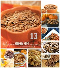 13 Delicious Pumpkin Seed Recipes - Make Life Lovely  By far the best recipes for pumpkin seeds this October! Can't wait to try a few of these