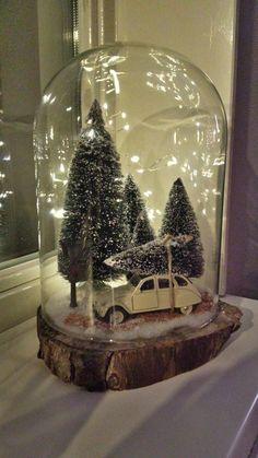 Christmas Snow Globes, Christmas Lanterns, Christmas Door Decorations, Christmas Love, Vintage Christmas, Christmas Tree Village, Miniature Christmas Trees, Snow Globe Crafts, Christmas Crafts