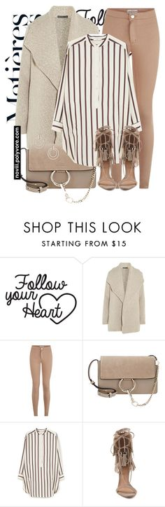 """Untitled #1220"" by noviii ❤ liked on Polyvore featuring James Perse, Chloé, MANGO, Schutz and Topshop"