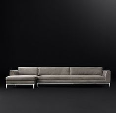 "This comes ""Petite"" 37"" deep. Italia Taper Arm Leather Left-Arm Chaise Sectional"
