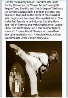 Grandmaster Linda Denley Have you heard of her? This is amazing! Black History Facts, Black History Month, Strange History, Tang Soo Do, Einstein, My Black Is Beautiful, Beautiful Women, Interesting History, Interesting Facts