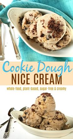 Cookie Dough Nice Cream Creamy banana and almond milk ice cream with garbanzo bean and date cookie dough. Creamy, plant-based and sugar free. Low Carb Dessert, Vegan Dessert Recipes, Vegan Sweets, Healthy Sweets, Dairy Free Recipes, Whole Food Recipes, Healthy Chocolate Desserts, Delicious Desserts, Healthy Snacks
