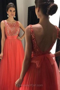 Red Prom Dresses, Scoop Neck Prom Dress, Tulle Evening Dresses, Open Back Party Dresses, Beaded Formal Dresses