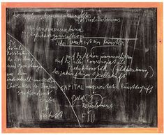 JOSEPH BEUYS Tafel I: Geist – Recht – Wirtschaft (Board I: Spirit – Law – Economics) 1978 Chalk on blackboard 35 3/8 x 43 1/4 inches 90 x 110 cm 40 1/2 x 48 x 2 inches (framed) 102.9 x 121.9 x 5.1 cm (photo courtesy of: www.zwirnerandwirth.com)