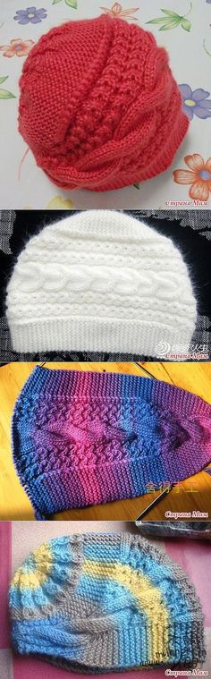 Knitted cabled hat; double-wedge shaped base with grafted ends, stitches picked up and knit in the round to finish crown. Two different cable charts. ~~ http://magic-art.info/blog/vjazanaja_spicami_teplaja_shapka_obodok_na_zimu/2014-12-06-609 ~~ Вязаная спицами теплая шапка-ободок на зиму. - 6 Декабря 2014 - Мастер классы по рукоделию - Информационный портал 'Магия Творчества'