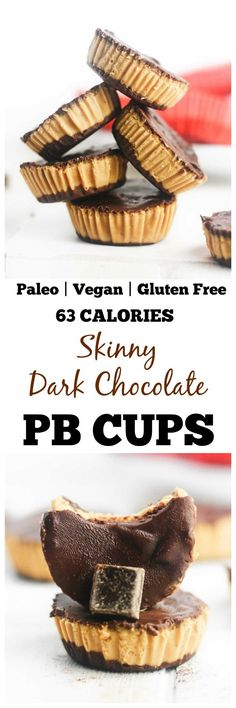 Skinny Dark Chocolate PB Cups Healthy, dark chocolate peanut butter cups that are gluten free, paleo and vegan friendly. Made with PB fit powder, these make the perfect, deliciously low calorie treat! Dessert Sans Gluten, Low Carb Dessert, Paleo Dessert, Gluten Free Desserts, Healthy Desserts, Gluten Free Recipes, Dessert Recipes, Vegetarian Recipes, Vegetable Recipes