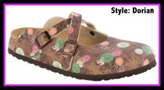 Where to find Disney Birkenstock sandals. This style is Dorian in Tinker Bell brown. Click for more styles and prices.