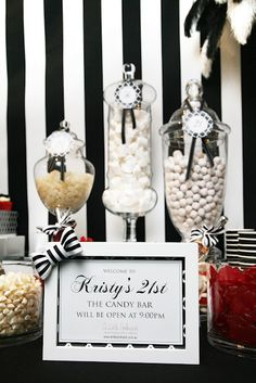 Happy 21st Birthday - black and white candy buffet!