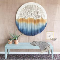 Most macrame fiber art is rectangular or squared, but this handmade circular wall hanging is Unique Wall Decor, Metal Wall Decor, Large Tapestries, Tapestry, Art Mural, Wall Art, Diy Wall, Wall Décor, Macrame Curtain