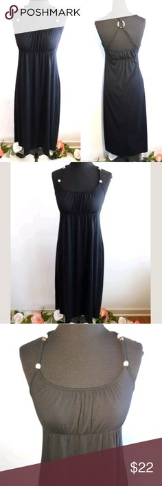 Spring Summer Black Classic Dress Old Navy Black Knit Dress Spaghetti Strap Beaded Accent Women's Small Racerback  Pre-owned in Excellent condition. Slight fade in color.  Please be sure to view all images before purchasing.  Thank you for Looking & Sharing Happy Poshing😄💗 Old Navy Dresses