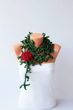 Thorny crochet  necklace scarf  crochet lariat scarf by SenasShop, $35.00