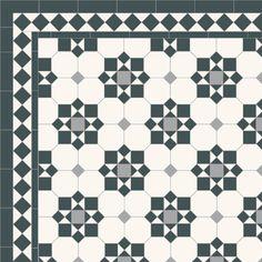London Mosaic Victorian tile design: Cornwall - multi coloured, traditional victorian, floor tiles
