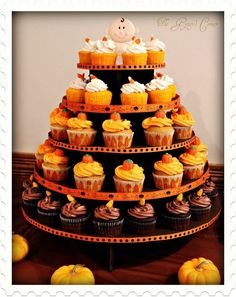 Baby Shower Cupcake Tower | Cute cupcake tower! | Fall Baby Shower Ideas