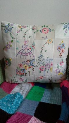 Items similar to SOLD.Patchwork cushion made from vintage embroidery and linen.(Can be ordered) on Etsy embroidery Items similar to SOLD.Patchwork cushion made from vintage embroidery and linen.(Can be ordered) on Etsy Quilts Vintage, Vintage Textiles, Vintage Sewing, Vintage Patterns, Vintage Cushions, Embroidery Transfers, Embroidery Patterns, Hand Embroidery, Quilt Patterns