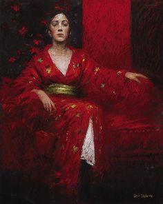 """The Red Couch"" by Australian artist Judy Drew. #Pastel #Portrait #Art"