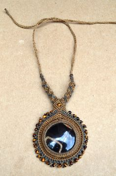 Black Onyx Macrame Necklace/ Desert Moon/ Healing by SpiritYSol