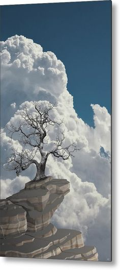 Painting of a bare tree standing on top of a mountain. Available as acrylic, metal, canvas and framed print in different sizes, click through for the details and more images of the collection. Wall Art Prints, Framed Prints, Bare Tree, Stationary Design, Tree Wall Art, Mountain, Clouds, Landscape, Canvas