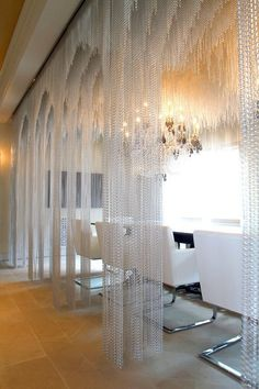 Great Selection Of Metal Beaded Curtains & Chain Mail Curtain Metal Curtain, Hotel Restaurant, Beaded Curtains, String Curtains, Interior Decorating, Interior Design, Interior Paint, Santa Monica, Commercial Design