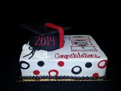 Cookie Jar Bakeshop I Custom Cakes I Red & Black Graduation Cake I Graduation Cake with Cap & Tassel