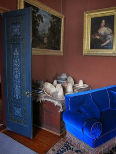 Stencilled and painted blue door | Olana, Hudson Valley | BIG OLD HOUSES