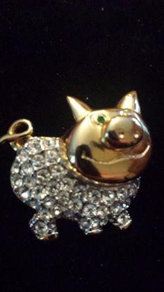 Vintage gold plated rhinestone, crystal pig pin brooch. EUC  #Unbranded