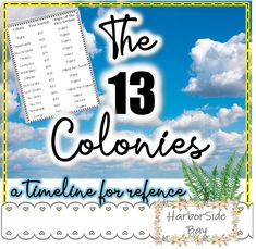A timeline describing the states that were the first colonies, the dates that were started in, and the origins of the first settlers. A very good resource to use as a reference sheet to introduce and/or review the 13 colonies.