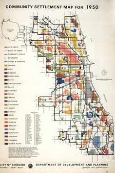 Where the nationalities lived throughout Chicago in the 1950s (map from 1976)