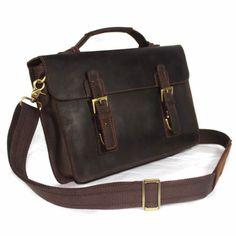 """Vintage Handmade Crazy Horse Leather Briefcase / Messenger / 13"""" MacBook 13"""" Laptop Bag"""