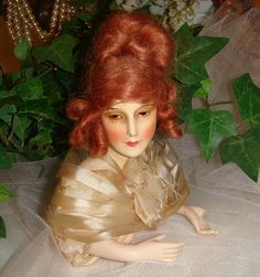 Antique French Half Boudoir Wax Doll with Auburn Mohair Wig from onlyfinelines on Ruby Lane
