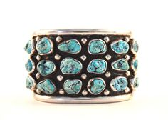 Handcrafted%20Sterling%20Silver%20and%20Natural%20Turquoise%20Nugget%20Cuff
