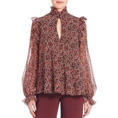 Giambattista Valli Ruffle Keyhole Silk Blouse ($1,650) ❤ liked on Polyvore featuring tops, blouses, apparel & accessories, silk blouses, ruffle blouse, red top, red ruffle blouse and long sleeve ruffle blouse