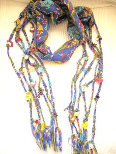scarf - womens scarves -  braided -Blue Turkish OYA -Bohemian gypsy headbands -yemeni-crochet flower- Necklace Belt Bandana Dreadlocks. $28.00, via Etsy.