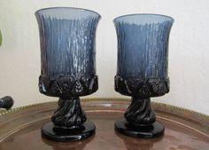Fostoria Sorrento Blue 2 Pc Water Glasses Set Vintage Footed Goblet Stem Pattern #2822 Textured Pressed Glass Retro Brutalist Barware USA by SaltwaterVillage on Etsy