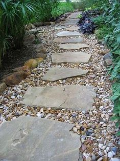 Austin lawn drainage, dry creek beds stepping stone pathway, back garden design, backyard Landscaping With Rocks, Front Yard Landscaping, Backyard Landscaping, Backyard Ideas, Stone Landscaping, Front Walkway, Easy Landscaping Ideas, Sloped Backyard, Modern Backyard
