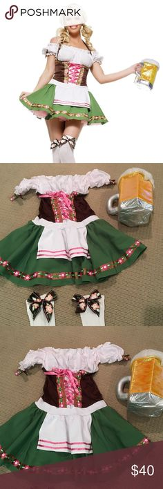 German Beer Girl Halloween Costume   German Beer Girl Costume. Just reach for a pint and have a good time! Including a beer stein purse with costume. Great condition as I only wore once!  100% polyester Zips up back for closure Elastic at neckline White fabric trim ties behind the waist White pleated fabric above the brown bodice has floral trim Pink ribbon laces up through decorative metal loops Apron attached to green skirt Opaque white stockings have matching brown & floral bow Leg…