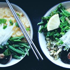 RECIPE : green comfort congee bowl with miso sauce | jenny mustard  miso sauce 3 tbsp white miso paste (found in asian food & whole food shops, make sure it's vegan) 3 tbsp water 1 tbsp rice vinegar (optionally white wine vinegar) 1 tsp ginger, grated 2 garlic cloves, grated