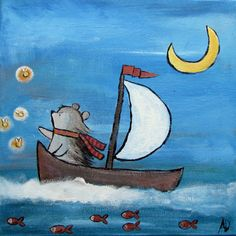 Kids Wall Art, Hedgehog in Sailboat Whimsical Nursery Decor, Original Painting