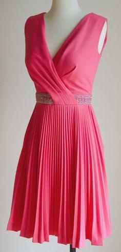 Vintage 60s/70s Bombshell Disco Cocktail Dress, Metallic Beaded Waist, Pleated Short Skirt