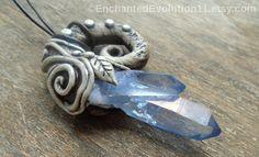 Tanzine Aura Quartz Necklace Clay Pendant by EnchantedEvolution11