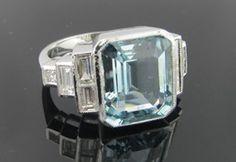 Ferro Jewelers - Estate Jewelry | ART DECO STEPPED AQUAMARINE AND DIAMOND RING