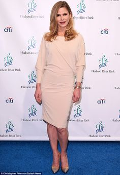 It's a match: The 49-year-old actress teamed her Elisabetta Franchi creation with bronze heels