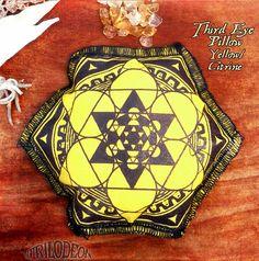 Meditation Pillow for Third Eye - Aromatherapy Gemstone w Flower of Life Chakra Pillow - HEALING PROSPERITY EMPOWERMENT Citrine Yellow