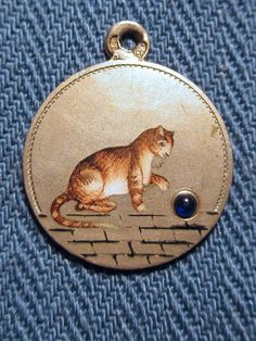 Cat Ball Antique German 800 Silver Enamel with Blue Glass Ball Charm C 1900