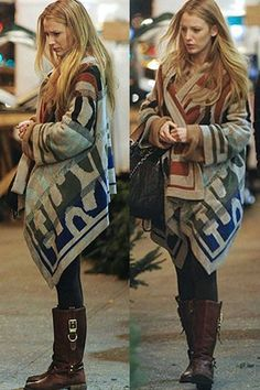Just bought something like this sweater (much cheaper I am sure). Like it w the brown boots. This one is Twelfth Street By Cynthia Vincent Blanket Sweater in Multi.