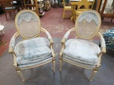 SOLD. Vintage antique pair of Louis XVI French style armchairs - $295/pr