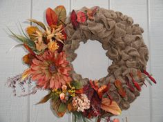 Items similar to Burlap Wreath on Etsy House Front Door, Wreaths For Front Door, Door Wreaths, Burlap Wreaths, Diy Projects To Try, Fall Crafts, Florals, Nerd, Decorating Ideas