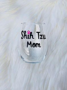 Shih Tzu Mom handpainted stemless wine glass/Dog Mom wine glass/Shih Tzu  Mom mug/Shih Tzu lover gifts/Shih Tzu Mom wine glass/READY TO SHIP Shih Tzu, Stemless Wine Glasses, Glass Design, Hand Painted, Crystals, Unique Jewelry, Tableware, Handmade Gifts, Painting